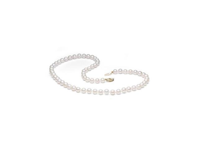 14K Yellow Gold 7-7.5mm Cultured Akoya Pearl Necklace