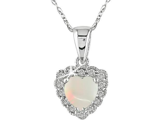 10K White Gold 1/10 ctw Diamond and Opal Pendant with 17 inch Chain I-J,I2-I3