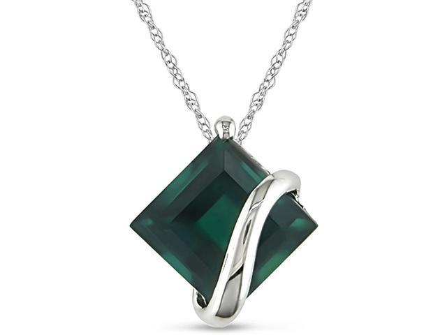 10k White Gold Created Emerald Necklace