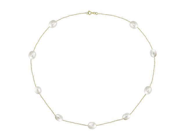 "14k Yellow Gold 18"" FW Rice Pearl Necklace"