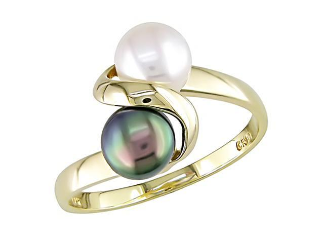 10K Yellow Gold Black and 5-6mm White Cultured Freshwater Pearl Ring