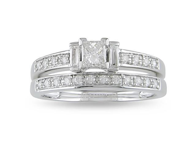 14k White Gold 1/2ct TDW Diamond Bridal Ring Set (H-I, I2-I3)