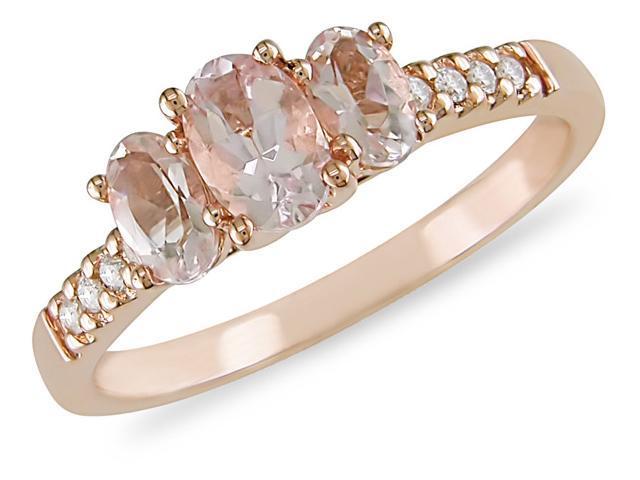 10K Gold Gold Morganite and 1/10ct TDW Diamond Ring