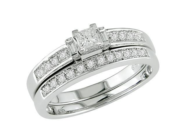 14K White Gold 1/3 ctw Diamond Wedding Band and Engagement Ring G-H-I,I1-I2