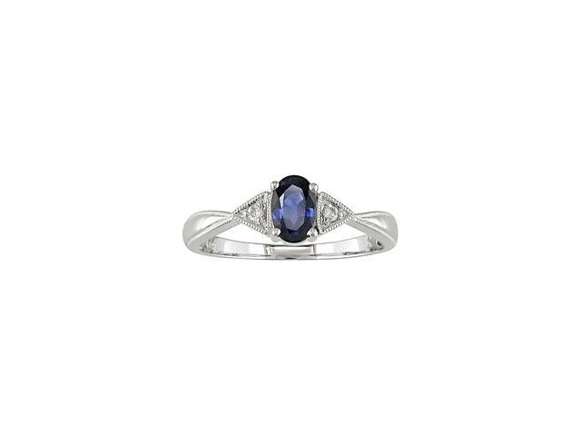 14K White Gold .03 ctw Diamond and Sapphire Ring