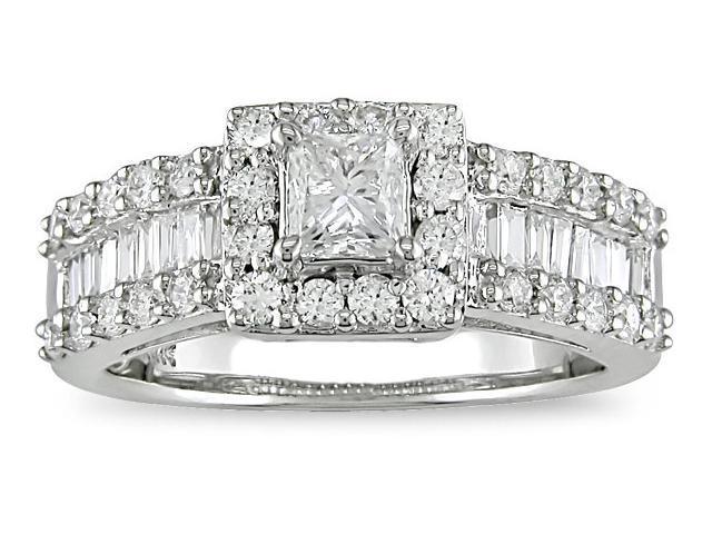 14K White Gold 1-3/8 ctw Diamond Engagement Ring H-I,I1