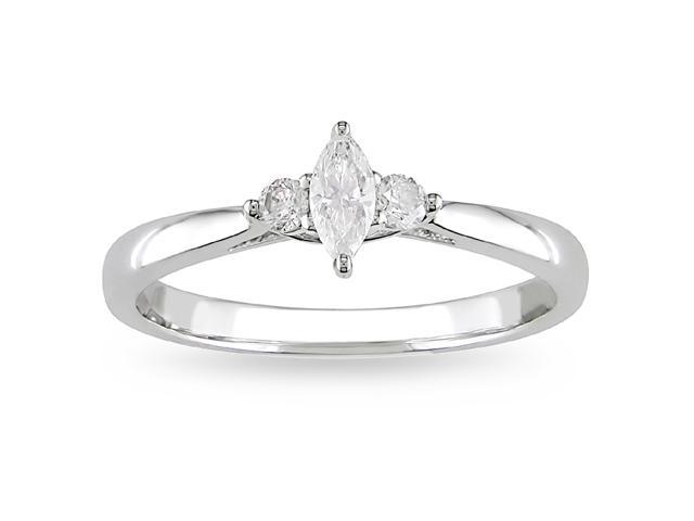 10k White Gold 1/4ct TDW Diamond Engagement Ring (H-I, I2-I3)