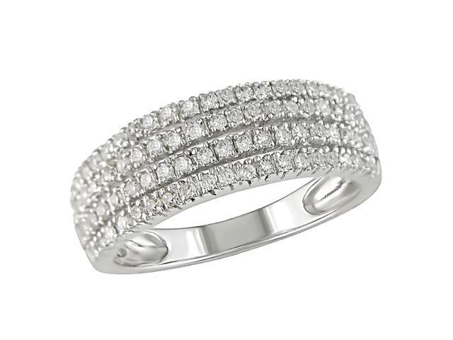10K White Gold 3/8 Carat Diamond Four-Row Ring