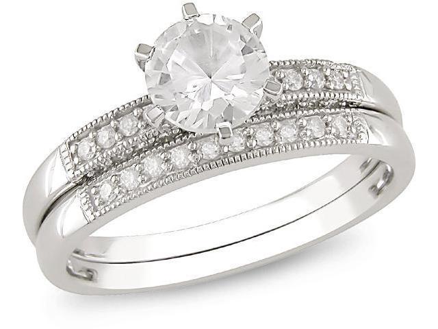 10k Gold White Sapphire, 1/3ct TDW Bridal Ring Set