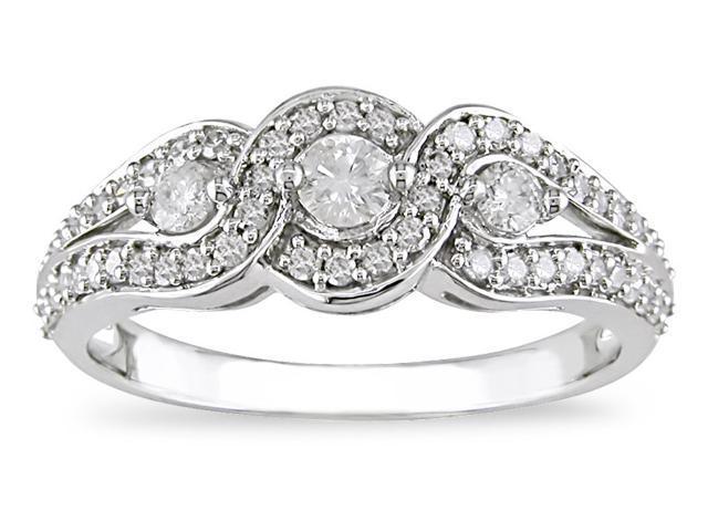 14K White Gold 1/2 ctw Diamond Three-Stone Ring H-I-J,I2-I3