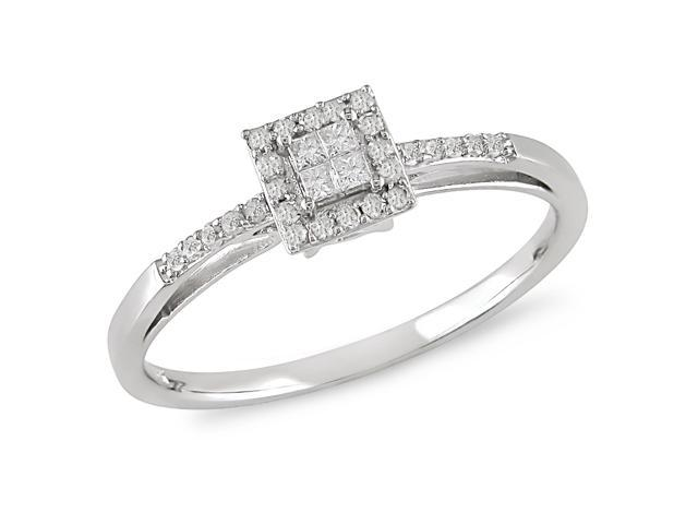 1/5 ct.t.w. Diamond Engagement Ring in 10k White Gold, I2-I3, G-H-I
