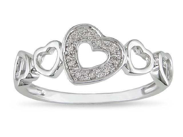 10k White Gold Diamond Accent Heart Ring