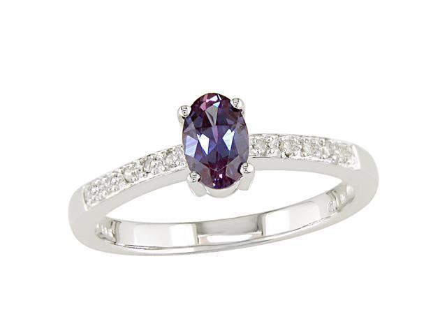 10K White Gold .05 ctw Diamond and Alexandrite Ring