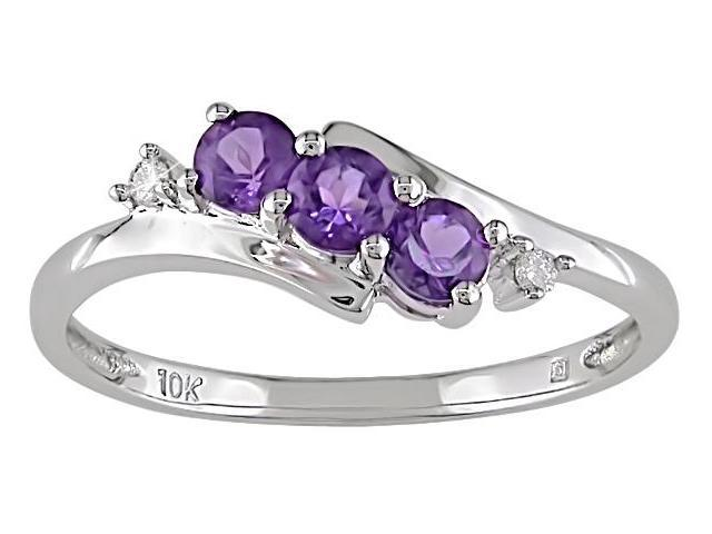 10K White Gold .018 ctw Diamond and Amethyst Ring