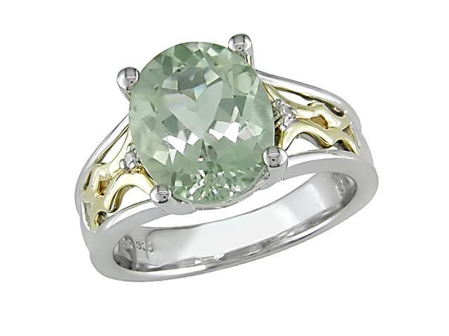 Yellow Gold and Sterling Silver 3 Carat Green Amethyst and Diamond Ring