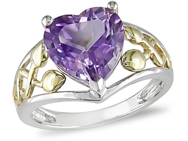 10K Gold Sterling Silver Heart Amethyst Ring