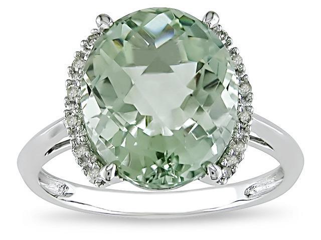 10k  4ct TGW Green Amethyst and .06ct Diamond Ring