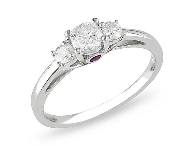 14k Gold 1/2ct TDW Diamond and Pink Sapphire Ring