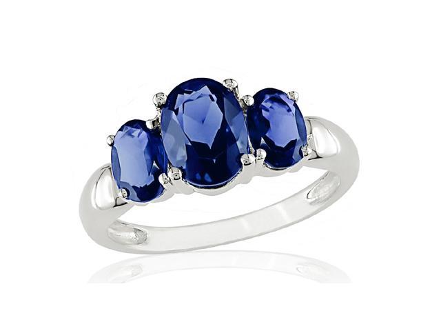 Sterling Silver Created Sapphire 3-stone Ring