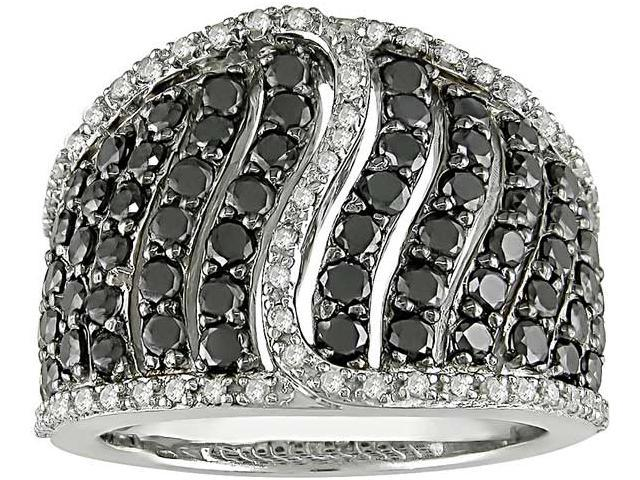 2 Carat Black and White Diamond Ring w/ Sterling Silver and Black Rhodium