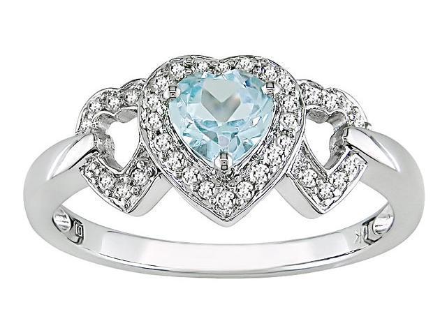 10K White Gold 1/6 ctw Diamond and Blue Topaz 3-Heart Ring