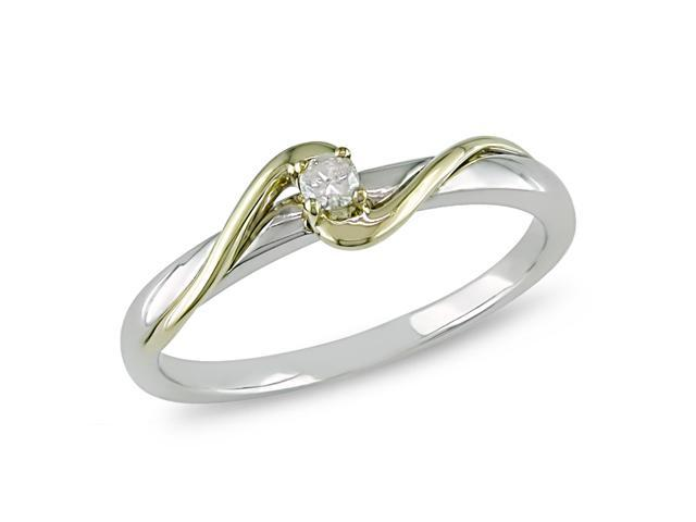 Diamond Accent Ring in 10k White and Yellow Gold, I2-I3, G-H-I