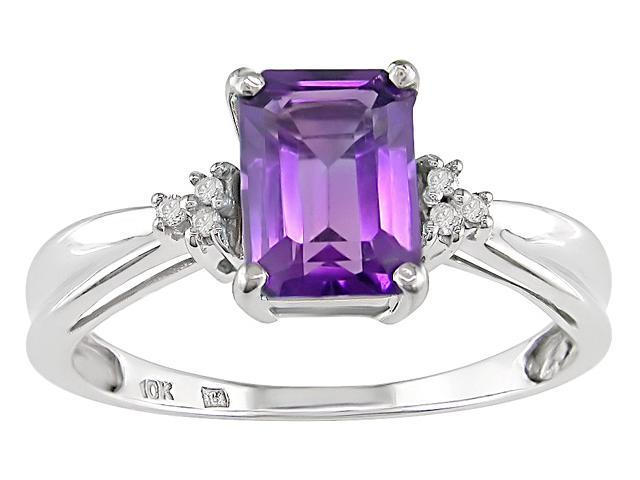 10K White Gold .03 ctw Diamond and Amethyst Ring