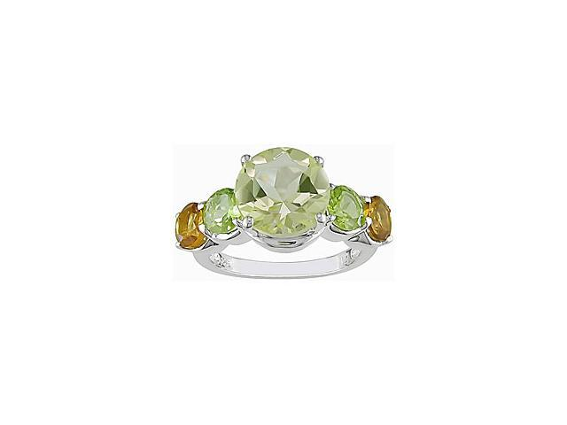 Amour Collections Sterling Silver Lemon Quartz Peridot Citrine Ring - Size 5
