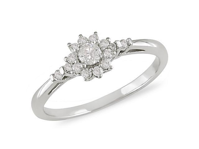 1/4 ct.t.w. Diamond Flower Shape Ring in 10k White Gold, I2-I3, G-H-I