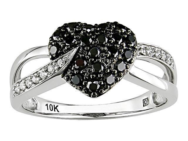 10K White Gold 1/3 ctw Black and White Diamond Heart Ring