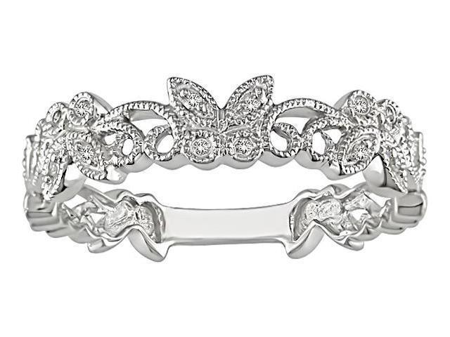 10k White Gold Diamond Filigree Butterfly Ring