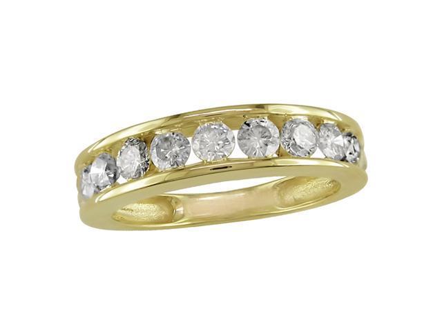 14K Yellow Gold 1 ctw Diamond Semi-Eternity Band