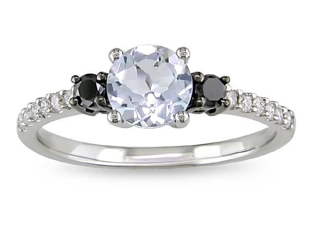 10k Gold Aquamarine and 1/4ct TDW Diamond Ring