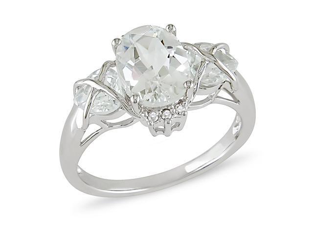 3-1/3 cttw White Topaz and Diamond Accent Ring in 10k White Gold, I1-I2, G-H-I