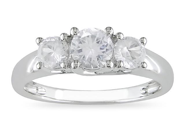 10k White Gold 1 1/3 Carat Round Created White Sapphire Three Stone Engagement Ring