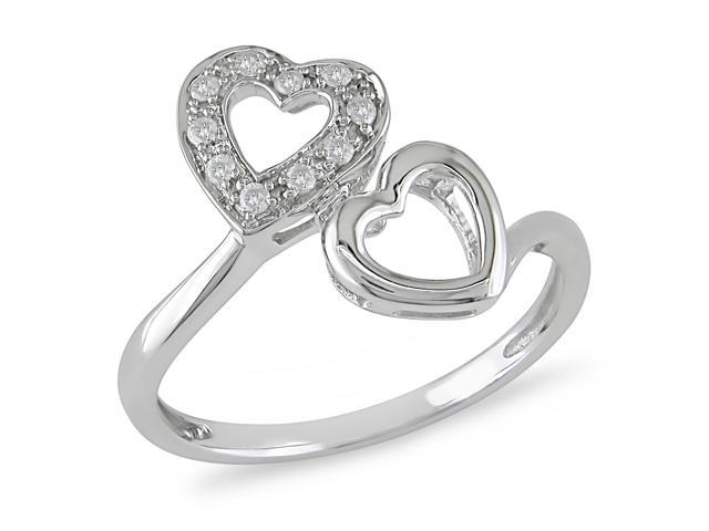 1/10 ct.t.w. Diamond Heart Ring in 10k White Gold, I2-I3, G-H-I