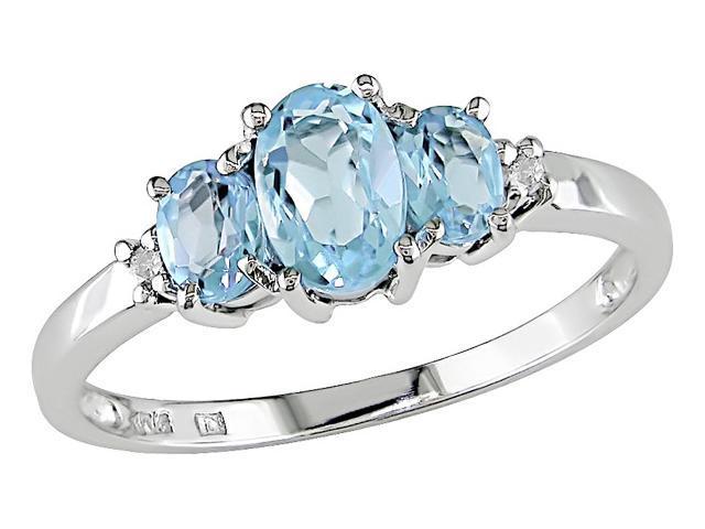 10K White Gold .02 ctw Diamond and Blue Topaz 3-Stone Ring