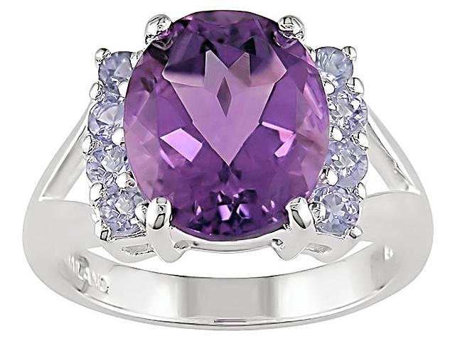Sterling Silver Amethyst and Tanzanite Ring