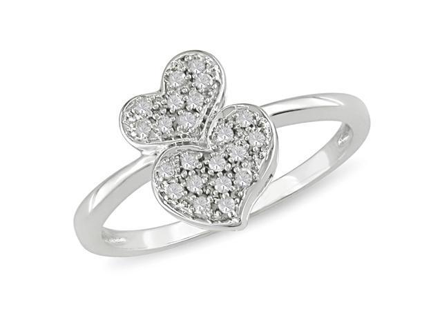 1/10 ct.t.w. Diamond Heart Shape Ring in 10k White Gold, I2-I3, G-H-I