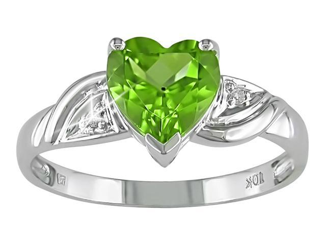 10K White Gold .01 ctw Diamond and Peridot Heart Ring
