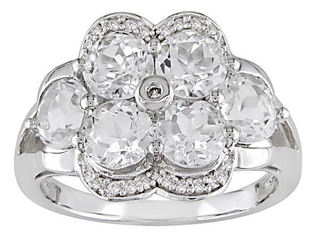 10K Gold 1/10ct TDW Diamond White Topaz Ring