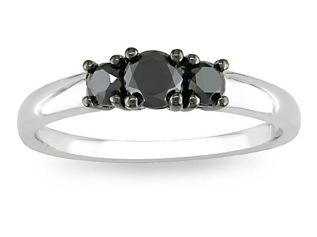 Silver 1/2ct TDW Black Diamond Three-stone Ring