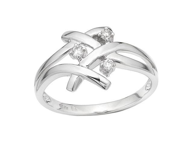 10K White Gold 1/10 ctw Diamond Criss Cross Ring