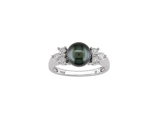 14k Gold Tahitian Pearl and 1/5ct TDW Diamond Ring (7-7.5 mm)