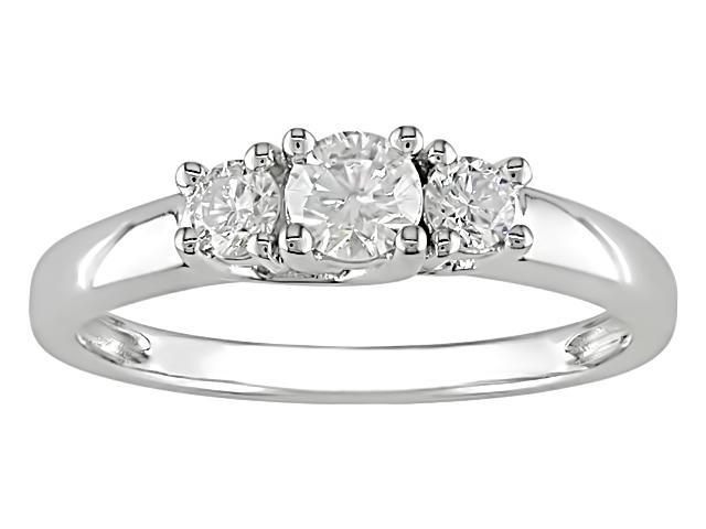 14K White Gold 1/2 Carat Diamond Three Stone Engagement Ring (J-K,I2-I3)