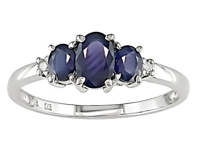 10K White Gold .02 ctw Diamond and Sapphire Ring