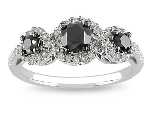 10k White Gold 1ct TDW Black Diamond Ring