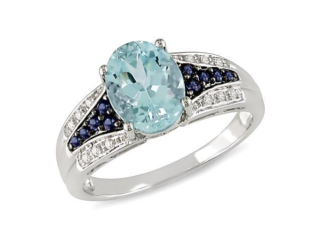 2-1/6 ctw Blue Topaz Sapphire and Diamond Accent Ring in 10k White Gold, G-H-I