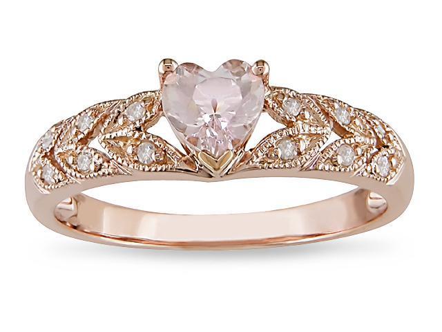 10k Pink Gold .06ct TDW Diamond and Morganite Ring
