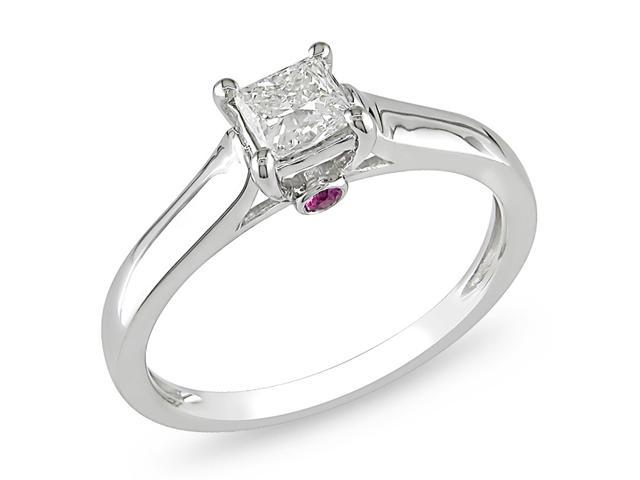 14k Gold 1/2ct TDW and Sapphire Engagement Ring